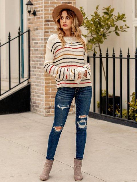 Women Striped Color-Block Work Shift Sweater
