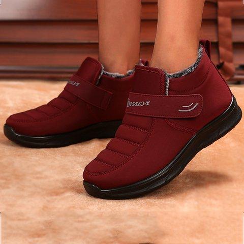 Womens Non-Slip Winter Flat Heel Solid Snow Boots