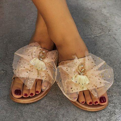 Womens Flat Heel Slides Bowknot Open Toe Slippers