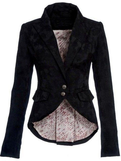 Black Turn-Down Collar Casual Cotton Outerwear