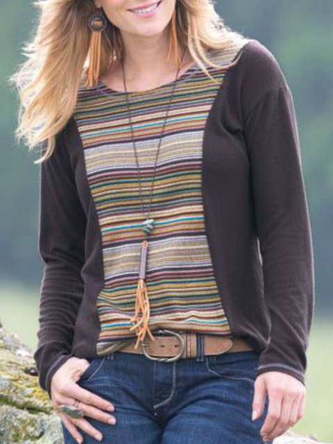 Brown Crew Neck Printed Striped Casual Plus Size Blouse