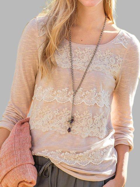 Pink Long Sleeve Cotton-Blend Shirts & Tops
