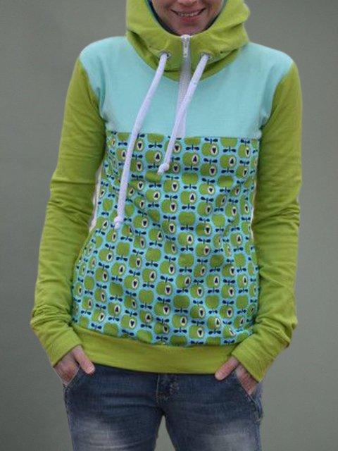Green Printed Long Sleeve Hoodie Plus Size Sweatshirt