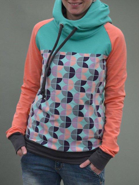 Orange Floral Hoodie Casual Printed Plus Size Sweatshirt