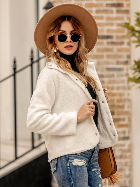 Women Solid Zipper Long Sleeve Shawl Collar Jackets