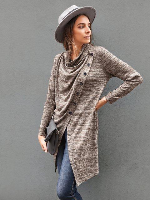 Women Casual Plain Cowl Neck Buttoned Shirts & Tops