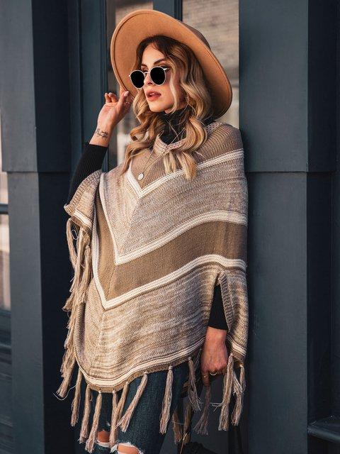 Women Cape Sleeve Woven Shift Ponchos