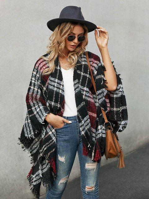Black Casual Cotton-Blend Outerwear