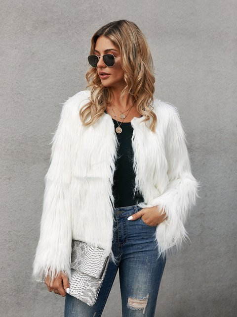 White Shift Long Sleeve Faux Fur Outerwear