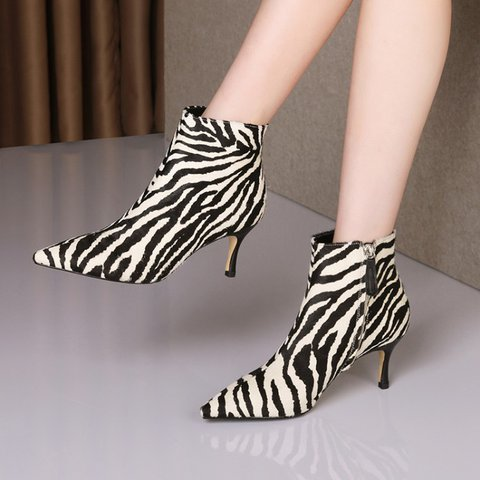 Daily Genuine Leather Animal Print Ankle Booties