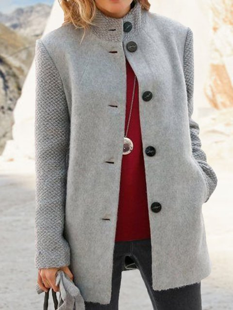 Gray Wool Blend Paneled Long Sleeve Outerwear