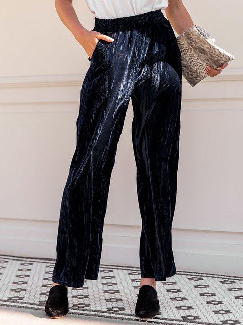 Women Velvet  Plain Casual Pants