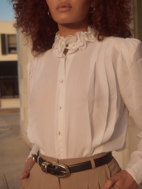White Ruffled Vintage Shirts & Tops