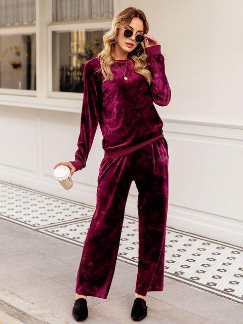 Women Flannel Plain Basic Pants