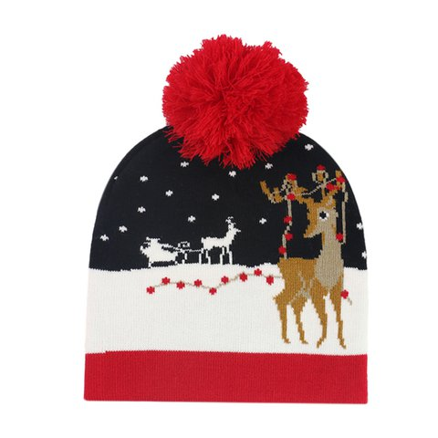 Christmas Knitted Jacquard Hat Warmer with Ball