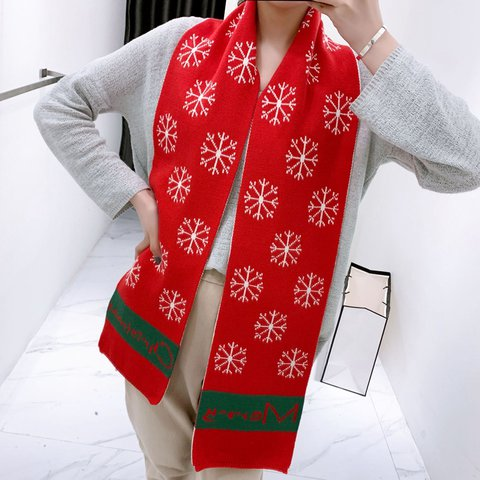 Warm Knitted Cashmere Christmas Scarf
