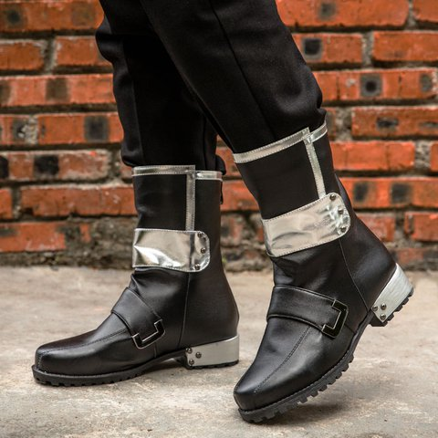 Mid-Calf Pu Leather Boots Rivet Casual Boots With Back Zipper