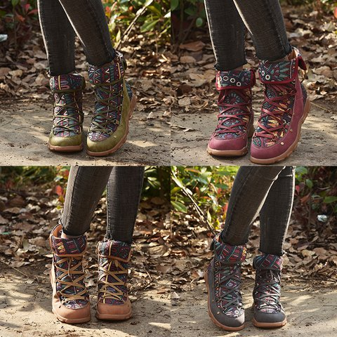 Women Casual Vintage Printed Lace up Warm Boots