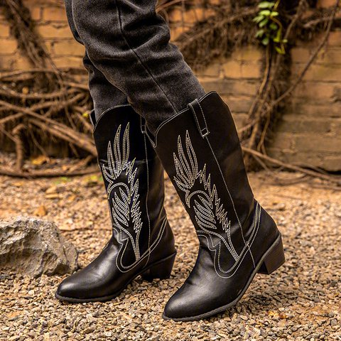 Vintage Women Block Heel Slip-On Mid-Calf Boots