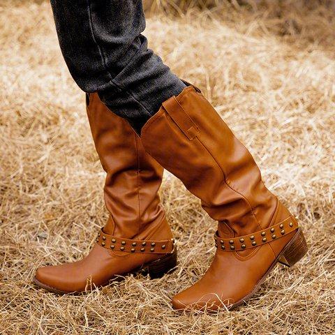 Rivet Block Heel PU Knee-High Boots Zipper Vintage Women Boots