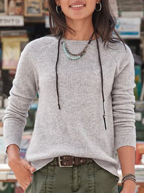 Light Gray Long Sleeve Casual Sweater