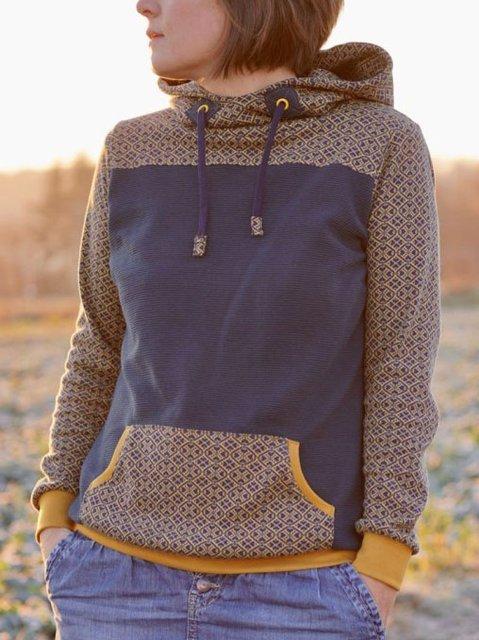 Blue Vintage Geometric Sweatshirt