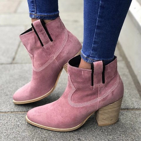 Women Casual Daily Slip On Suede Boots