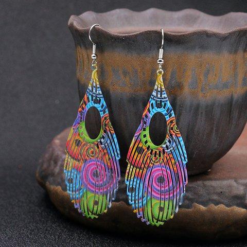 Fashion Color Inkjet Earrings Feather Hollow Earrings