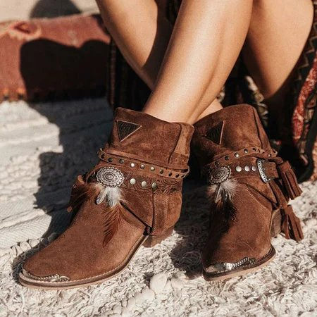 Boho Style Tassel Slip On Chunky Heel Ankle Booties