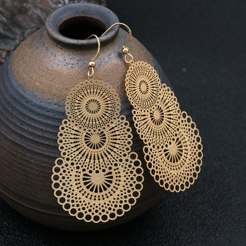 Vintage Hollow Leaves Matte Gold Big Earrings