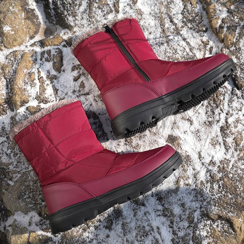Women Plain Round Toe Warm Comfort Snow Boots