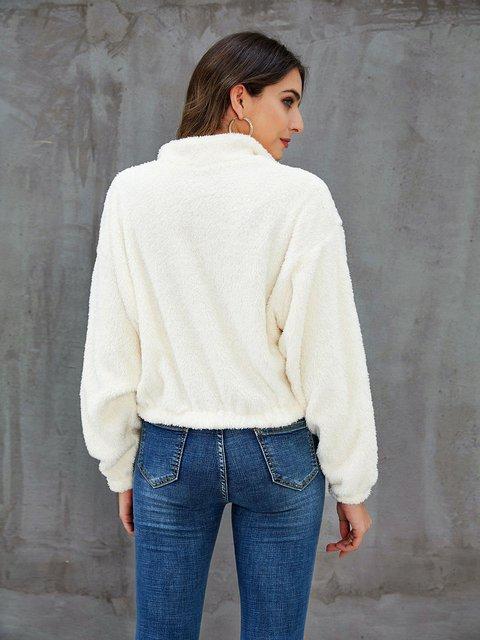 White Paneled Long Sleeve Outerwear