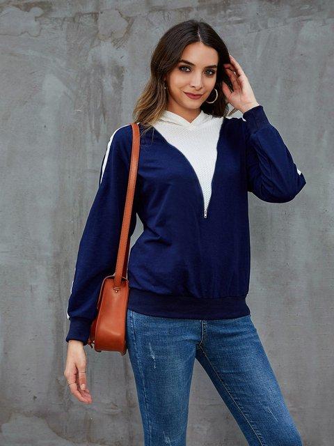 Blue Abstract Paneled Long Sleeve Hoodie Sweatshirt