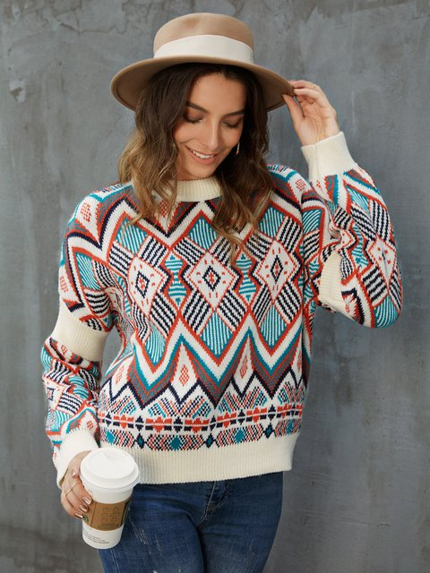 Casual Cotton Tribal Long Sleeve Sweater