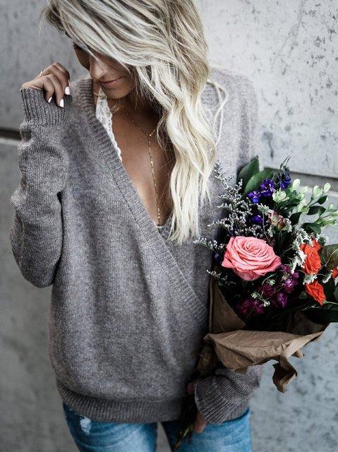 Women Casual Plain Long Sleeve Sweater