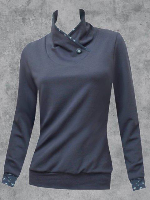 Cotton-Blend Turtleneck Casual Star Sweatshirt