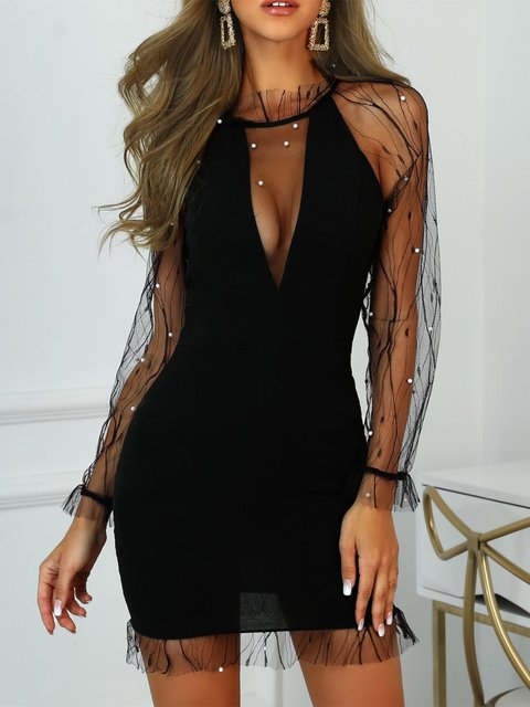 Mesh Embroidered Bodycon Dresses