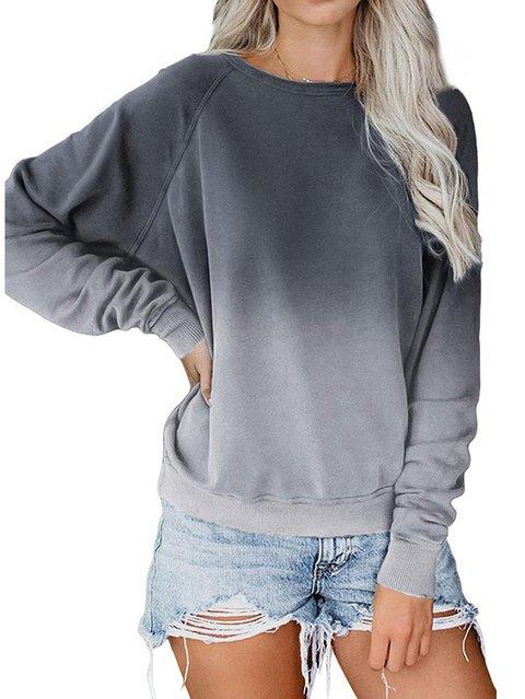 Women Ombre/tie-Dye Casual Sweatshirt