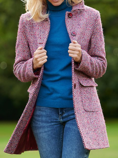 Fuchsia Long Sleeve Tweed Outerwear