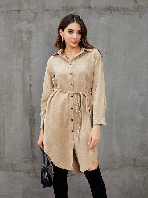 Khaki Casual Buttoned Dresses