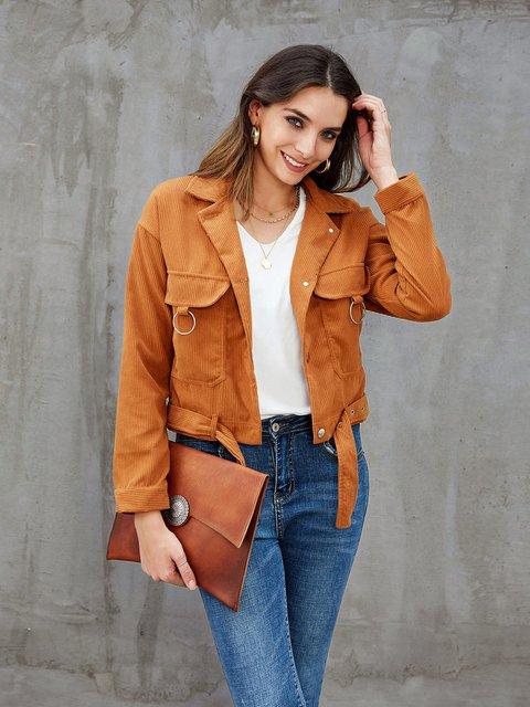 Khaki Shirt Collar Shift Buttoned Long Sleeve Outerwear