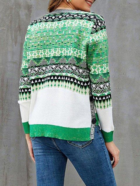 Green Casual Long Sleeve Sweater