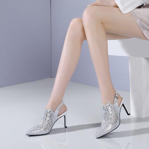 Fall Stiletto Heel Rhinestone Party Sandals