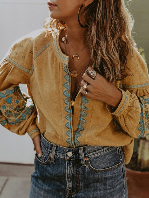 V Neck Long Sleeve Linen Vintage Shirts & Tops