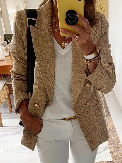 Khaki Buttoned Lapel Solid Long Sleeve Jackets