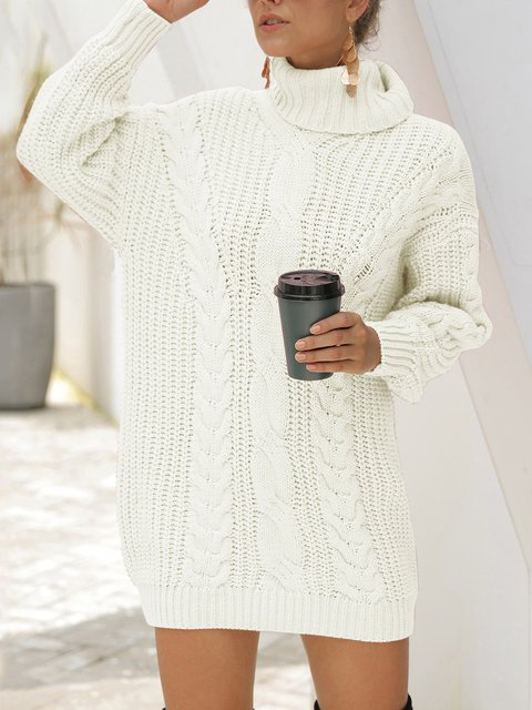 Long Sleeve Turtleneck Casual Sweater Dresses