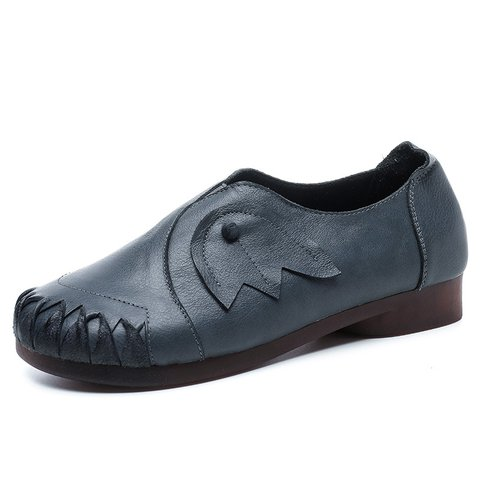 Women Split Joint Cowhide Leather Casual Loafers