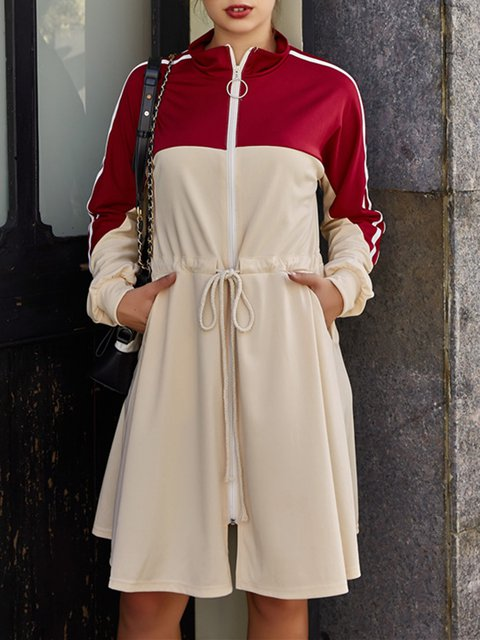 Stand Collar Beige Women Dresses Daily Casual Plain Dresses