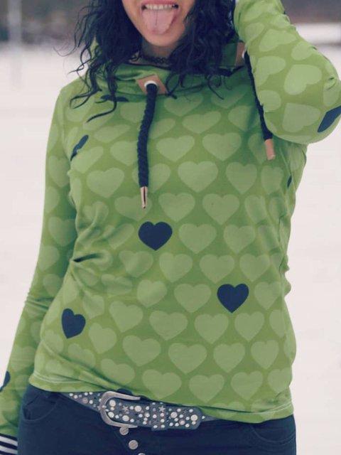 Green Casual Hoodie Printed Plus Size Sweatshirt