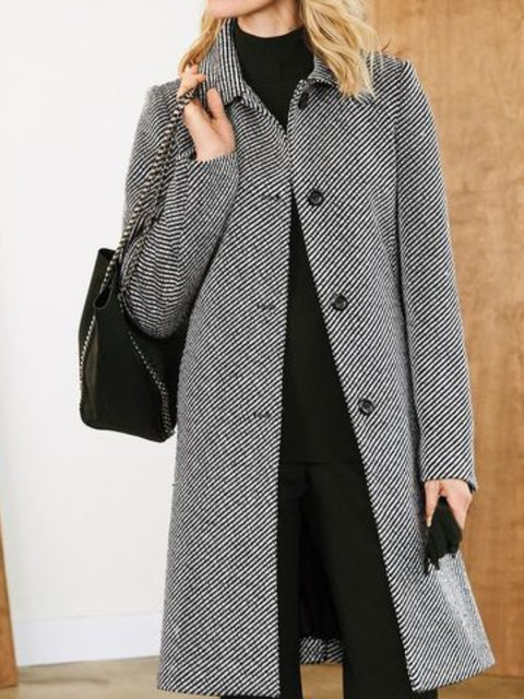 Cotton-Blend Long Sleeve V Neck Outerwear